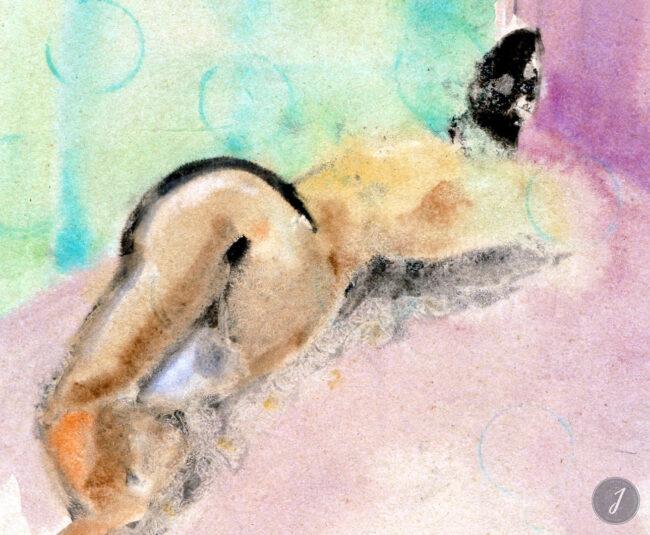 Nu féminin - Encre de Chine et Aquarelle sur Papier - 1999