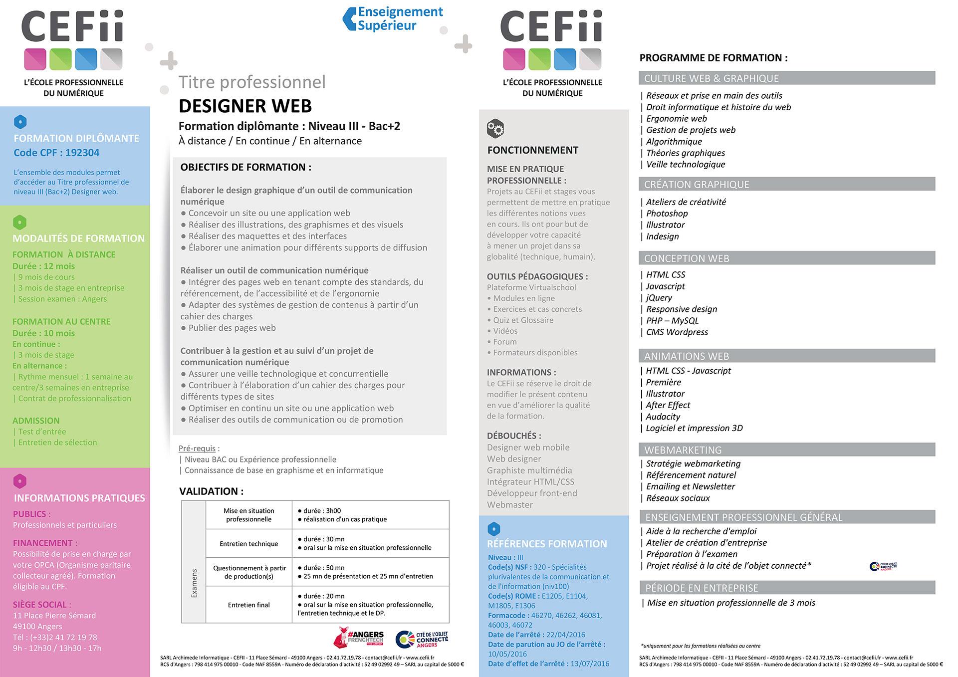 Mon programme de formation de designer web au CEFII